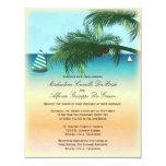 El boda formal de la escena retra de la playa invitación personalizada