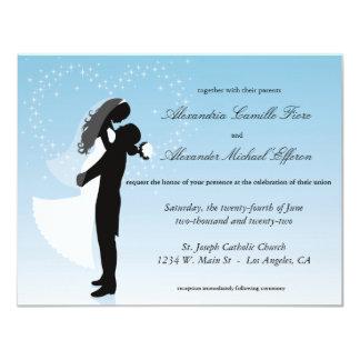 """El boda formal de la silueta azul de Ombre invita Invitación 4.25"""" X 5.5"""""""