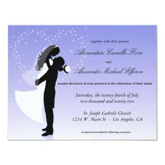"""El boda formal de la silueta de Ombre de la lila Invitación 4.25"""" X 5.5"""""""