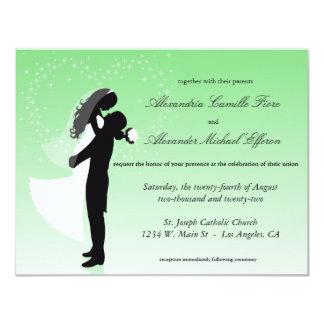 """El boda formal de la silueta de Ombre de la verde Invitación 4.25"""" X 5.5"""""""
