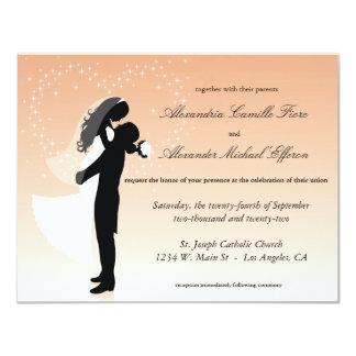 """El boda formal de la silueta de Ombre del Invitación 4.25"""" X 5.5"""""""