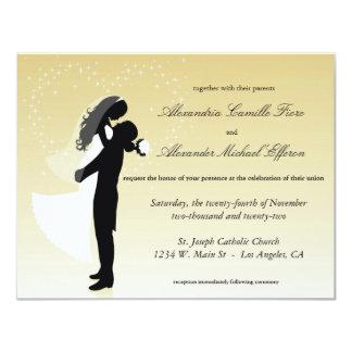 """El boda formal de la silueta de Ombre del limón Invitación 4.25"""" X 5.5"""""""