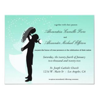 """El boda formal de la silueta de Ombre del trullo Invitación 4.25"""" X 5.5"""""""