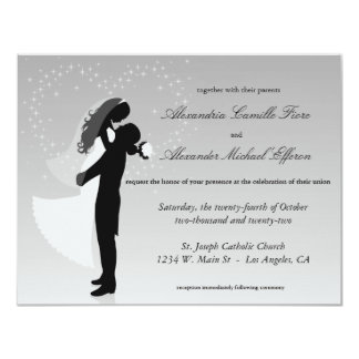 """El boda formal de la silueta de plata de Ombre Invitación 4.25"""" X 5.5"""""""
