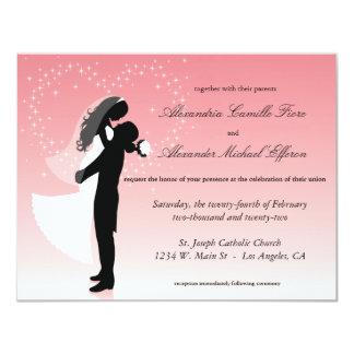 """El boda formal de la silueta rosada de Ombre Invitación 4.25"""" X 5.5"""""""