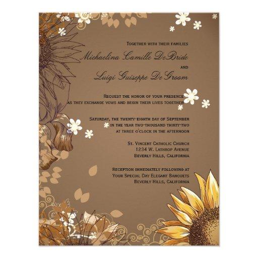 El boda formal de los girasoles elegantes invita comunicado personalizado