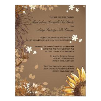 """El boda formal de los girasoles elegantes invita invitación 4.25"""" x 5.5"""""""