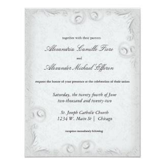 """El boda formal de plata elegante de Scrollwork Invitación 4.25"""" X 5.5"""""""
