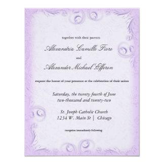 """El boda formal de Scrollwork de la lila elegante Invitación 4.25"""" X 5.5"""""""
