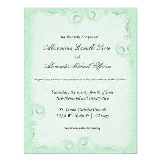 """El boda formal de Scrollwork de la menta elegante Invitación 4.25"""" X 5.5"""""""