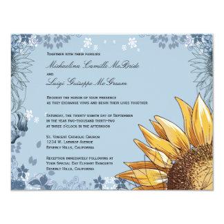 """El boda formal floral azul elegante invita invitación 4.25"""" x 5.5"""""""