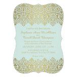 El boda formal invita al cordón de oro del vintage invitación