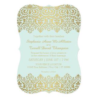 """El boda formal invita al cordón de oro del vintage invitación 5"""" x 7"""""""