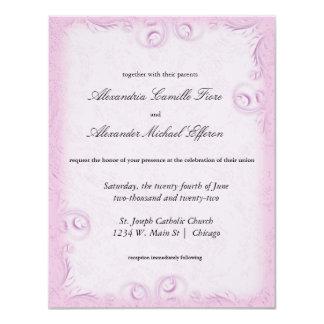 """El boda formal rosado elegante de Scrollwork Invitación 4.25"""" X 5.5"""""""