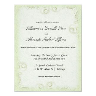 """El boda formal verde oliva elegante de Scrollwork Invitación 4.25"""" X 5.5"""""""