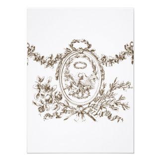 """El boda francés del Cartouche de las guirnaldas Invitación 5.5"""" X 7.5"""""""