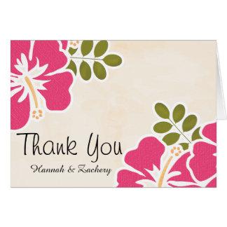 El boda fucsia del hibisco le agradece las tarjeta pequeña