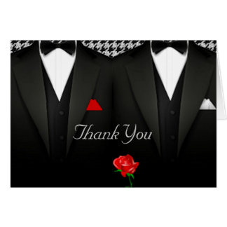 El boda gay le agradece cardar el smoking elegante tarjeta de felicitación