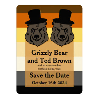 El boda gay refiere reserva de la bandera del oso invitación 16,5 x 22,2 cm