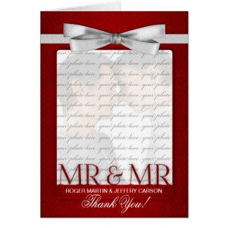 El boda gay rojo le agradece a partir de dos novio felicitación