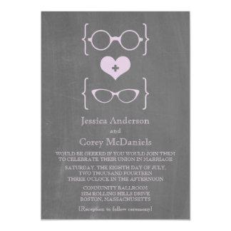 """El boda Geeky púrpura de la pizarra de los vidrios Invitación 5"""" X 7"""""""