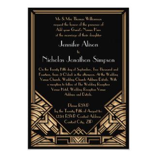 El boda geométrico del estilo de Gatsby del art Invitaciones Personales