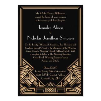 """El boda geométrico del estilo de Gatsby del art Invitación 5"""" X 7"""""""