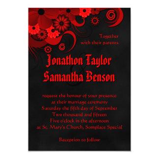 """El boda gótico de la pizarra negra floral roja invitación 5"""" x 7"""""""