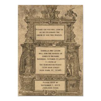 El boda gótico del grabar en madera medieval del comunicado personalizado