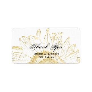 El boda gráfico del girasol le agradece etiquetar etiquetas de dirección