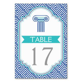 El boda griego azul de la llave y de la columna