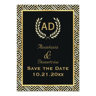 El boda griego de la guirnalda de la llave y del invitación 11,4 x 15,8 cm