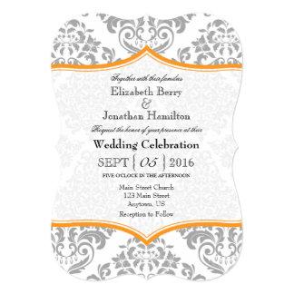 """El boda gris anaranjado del soporte del damasco invitación 5"""" x 7"""""""