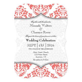 """El boda gris coralino del soporte del damasco invitación 5"""" x 7"""""""