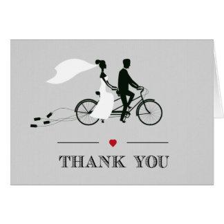 El boda gris de la bicicleta en tándem le agradece tarjeta pequeña