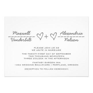 El boda gris de la ecuación del corazón invita anuncio personalizado