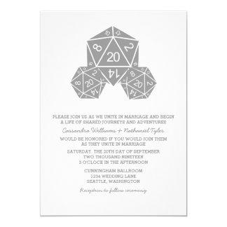 """El boda gris de los dados D20 invita Invitación 5"""" X 7"""""""