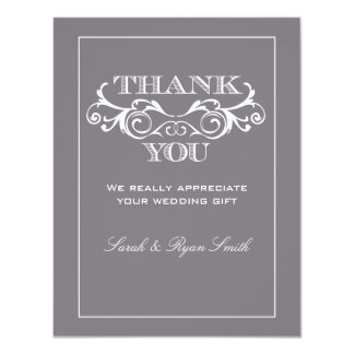 El boda gris del Flourish del vintage le agradece Comunicado Personal