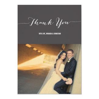 """El boda gris oscuro de la foto le agradece las invitación 5"""" x 7"""""""