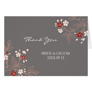 El boda gris rojo coralino del damasco le agradece tarjetas