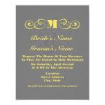 El boda gris y amarillo del monograma invita invitaciones personalizada