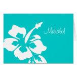 El boda hawaiano le agradece carda el hibisco tarjetas