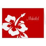 El boda hawaiano le agradece carda rojo del hibisc tarjetas