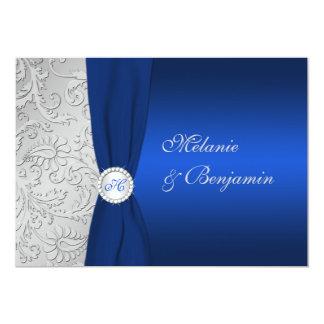 El boda IMPRESO del damasco de la plata de la Invitación 12,7 X 17,8 Cm