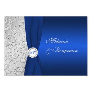 """El boda IMPRESO del damasco de la plata de la Invitación 5"""" X 7"""""""
