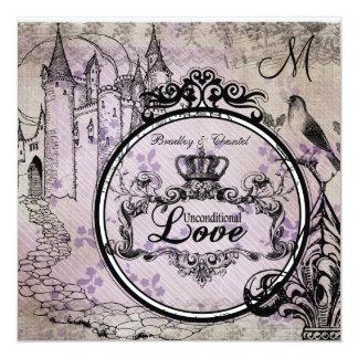 """El boda incondicional floral púrpura del amor invitación 5.25"""" x 5.25"""""""