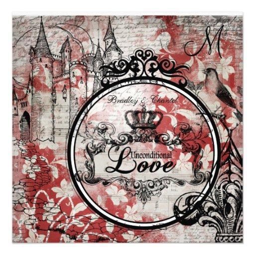El boda incondicional floral rojo del amor invita invitacion personalizada