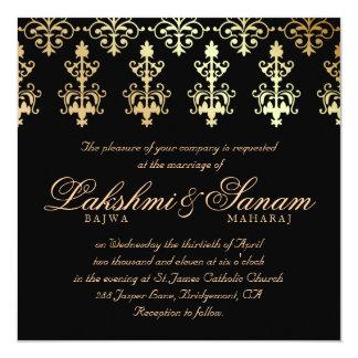 """El boda indio invita a negro del invierno del oro invitación 5.25"""" x 5.25"""""""