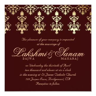 """El boda indio invita al otoño Brown del oro del Invitación 5.25"""" X 5.25"""""""