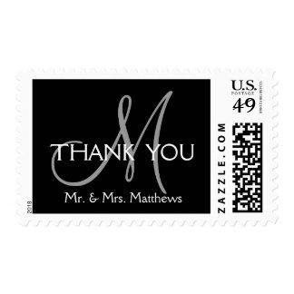 El boda inicial moderno gris negro le agradece timbre postal